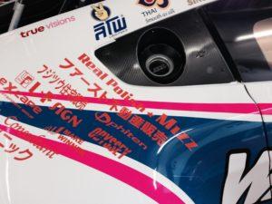 プロテクションフィルムを施工したレーシングカーの拡大写真