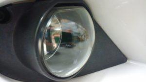 ヘッドライトスチーマードリームコート後のフォグランプ